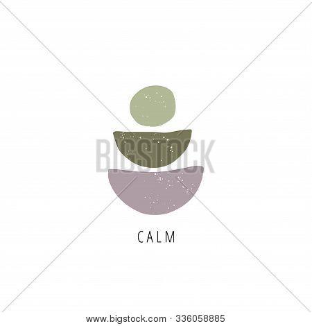 Zen Stones Flat Vector Illustration. Balance, Mindfulness And Harmony Concept