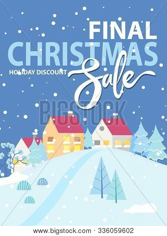 Final Christmas Sale At Wintertime. Discounts For Shopper, Promotional Poster With Snowy Cityscape A