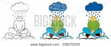The Businessman Took Root In The Ground. Character Weeping In The Rain. Hand Drawn Cartoon Doodle Ve