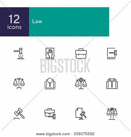 Law Line Icon Set. Set Of Line Icons On White Background. Judgement, Portfolio, Bag. Federal Service