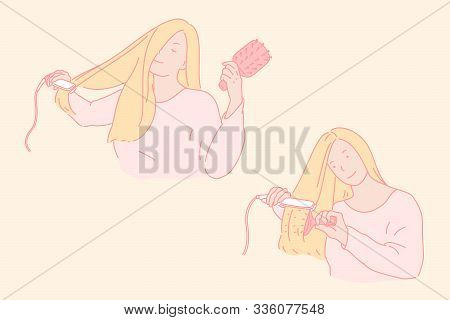 Hair Styling, Beauty Care Concept. Young Woman Straightening Long Hair, Blonde With Iron Device And