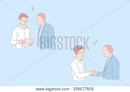 Cooperation Stages, Question And Agreement, Job Offer And Handshake, Making Deal Concept. Handshakin
