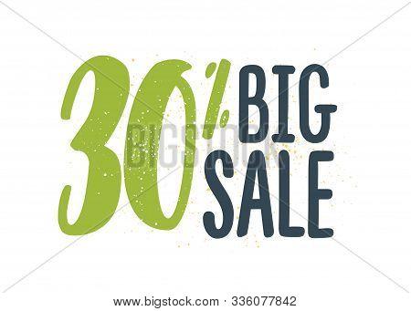 30 Percent Off Sale Vector Illustration. Big Summer Sale Advertisement. Special Offer, Seasonal Disc