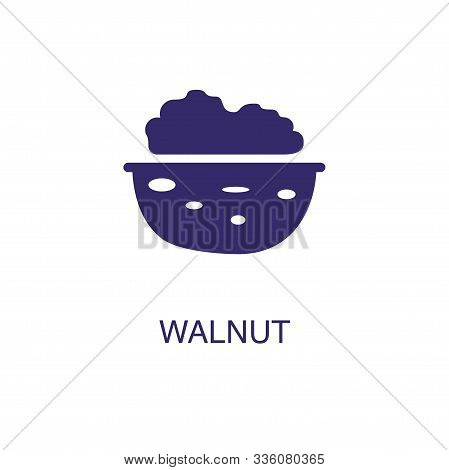 Walnut Element In Flat Simple Style On White Background. Walnut Icon, With Text Name Concept Templat