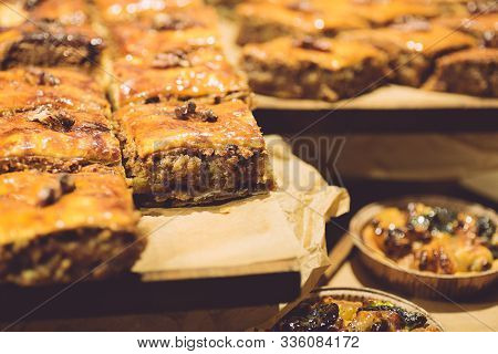 Baklava With Honey And Nuts On The Eastern Market In Turkey. Traditional Oriental Sweets. Turkish Cu
