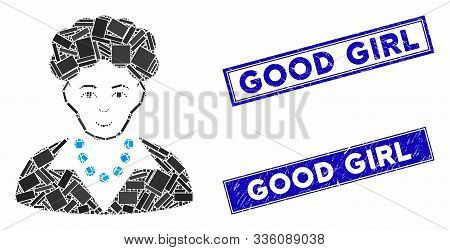 Mosaic Brunette Woman Pictogram And Rectangular Good Girl Stamps. Flat Vector Brunette Woman Mosaic