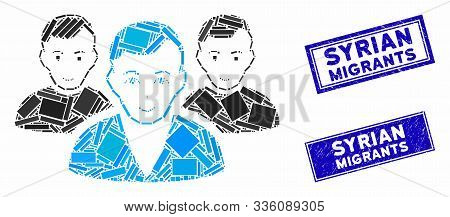 Mosaic User Group Pictogram And Rectangular Syrian Migrants Rubber Prints. Flat Vector User Group Mo
