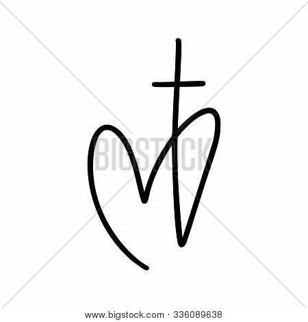 Vector Christian Logo Heart With Cross On A White Background. Hand Drawn Calligraphic Symbol. Minima
