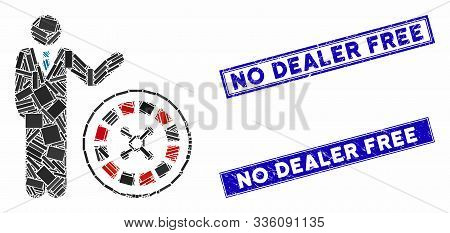 Mosaic Roulette Croupier Pictogram And Rectangle No Dealer Free Stamps. Flat Vector Roulette Croupie