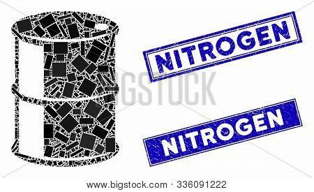 Mosaic Oil Barrel Pictogram And Rectangular Nitrogen Seals. Flat Vector Oil Barrel Mosaic Pictogram