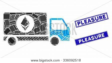 Mosaic Ethereum Delivery Lorry Icon And Rectangular Pleasure Rubber Prints. Flat Vector Ethereum Del