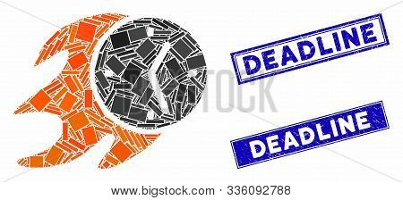 Mosaic Fire Deadline Clock Icon And Rectangular Deadline Seals. Flat Vector Fire Deadline Clock Mosa
