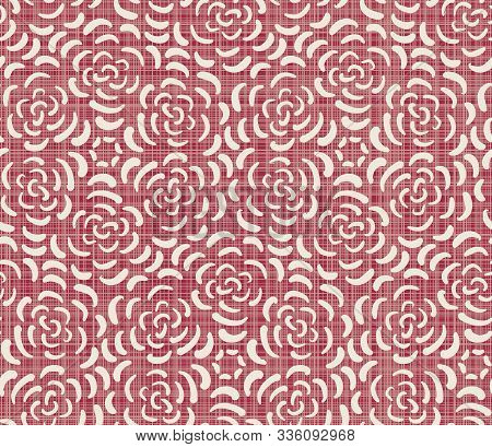 Red Ditsy Floral Seamless Pattern On Linen Texture