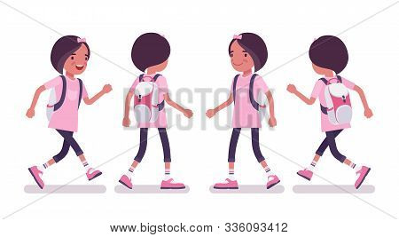 School Girl In Casual Wear Walking, Running. Cute Small Lady In Pink Tshirt With Rucksack, Active Yo