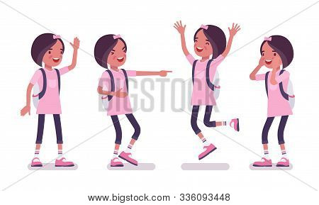School Girl In Casual Wear, Positive Emotions. Cute Small Lady In Pink Tshirt With Rucksack, Active