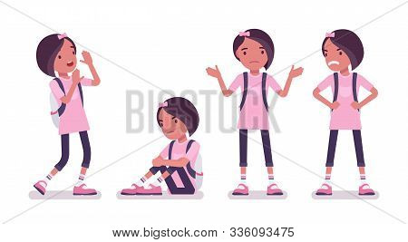 School Girl In Casual Wear, Negative Emotions. Cute Small Lady In Pink Tshirt With Rucksack, Active