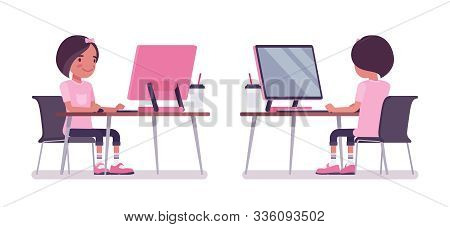 School Girl Studying At Computer Monitor. Cute Small Lady In Pink Tshirt, Active Young Kid, Smart El