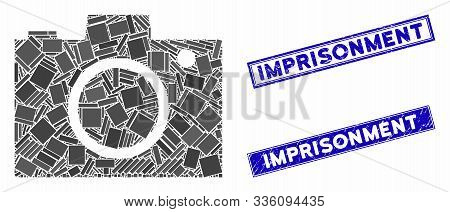 Mosaic Camera Pictogram And Rectangular Imprisonment Seal Stamps. Flat Vector Camera Mosaic Pictogra