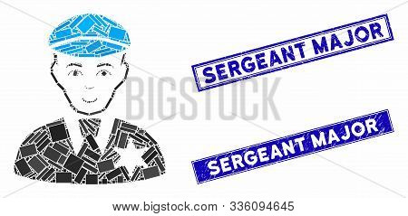 Mosaic Sheriff Pictogram And Rectangle Sergeant Major Stamps. Flat Vector Sheriff Mosaic Pictogram O