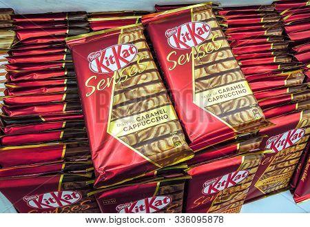 Samara, Russia - September 26, 2019: Different Fresh Kitkat Chocolate On The Shelves In Supermarket