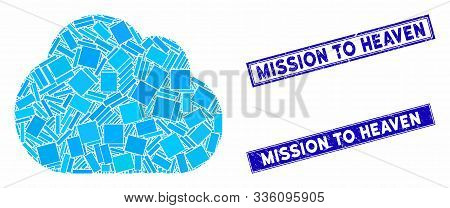 Mosaic Cloud Icon And Rectangle Mission To Heaven Seal Stamps. Flat Vector Cloud Mosaic Icon Of Scat