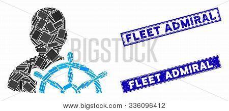Mosaic Ship Captain Pictogram And Rectangular Fleet Admiral Seal Stamps. Flat Vector Ship Captain Mo