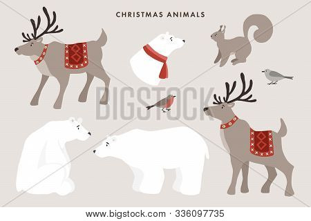 Set Of Wild Winter Animals. Cute Polar Bears, Reindeers, Squirrel And Finch Birds. Christmas Nordic