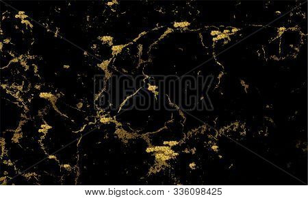 Vector Luxury Black Marble Glitter Gold Background. Abstract, Stone Surface, Texture. Vector Luxury