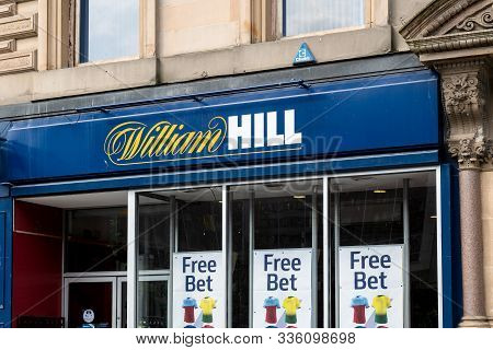 Glasgow, Scotland - July 31, 2019: The Storefront Of The William Hill Betting Company At The Streets