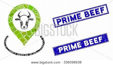 Mosaic Cow Location Icon And Rectangular Prime Beef Stamps. Flat Vector Cow Location Mosaic Icon Of