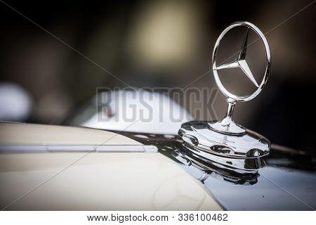 Mandello Del Lario, Italy - May 26, 1019: Illustrative Editorial Close Up Shot Of The Mercedes Benz