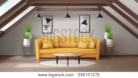 Modern Lounge On Attic With Wooden Ceiling Beam And Windows In Roof. Vector Realistic Interior Of Ma