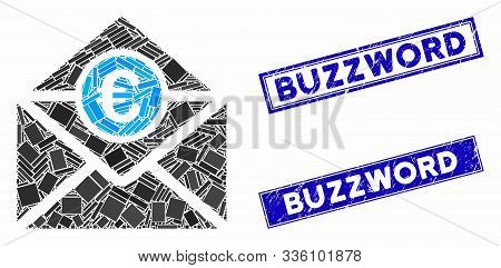 Mosaic Euro Mail Pictogram And Rectangular Buzzword Stamps. Flat Vector Euro Mail Mosaic Pictogram O