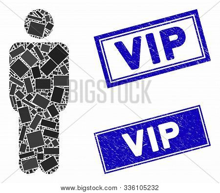 Mosaic Man Icon And Rectangle Vip Watermarks. Flat Vector Man Mosaic Icon Of Scattered Rotated Recta
