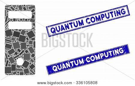 Mosaic Server Mainframe Pictogram And Rectangular Quantum Computing Seals. Flat Vector Server Mainfr