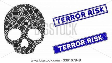 Mosaic Skull Icon And Rectangle Terror Risk Rubber Prints. Flat Vector Skull Mosaic Icon Of Random R