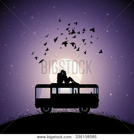 Lovers On Roof Of Retro Car On Moonlit Night. Vector Illustration With Silhouette Of Couple Sitting