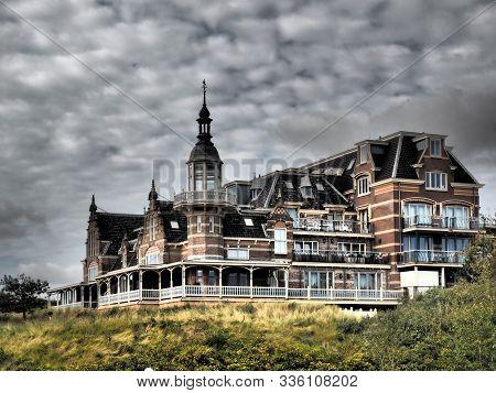 Domburg, The Netherlands - September 30, 2019:the Old Sea Bath In Domburg Und Dark Sky, Zeeland, The