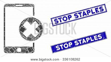 Mosaic Phone Cancel Icon And Rectangular Stop Staples Seal Stamps. Flat Vector Phone Cancel Mosaic I