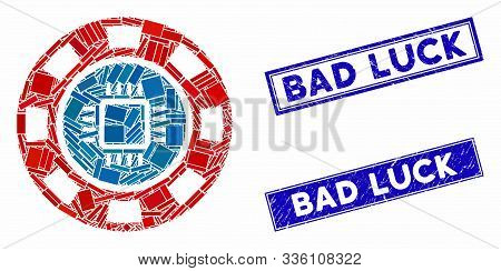 Mosaic Cpu Casino Chip Icon And Rectangular Bad Luck Watermarks. Flat Vector Cpu Casino Chip Mosaic