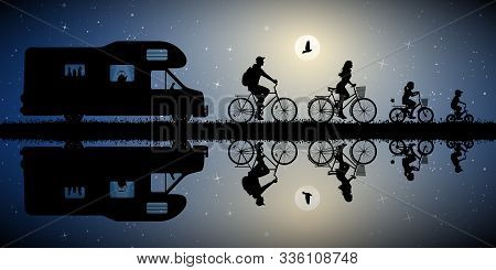 Family On Bikes And Retro Car On Moonlit Night . Active Rest Of Parents With Children. Vector Illust