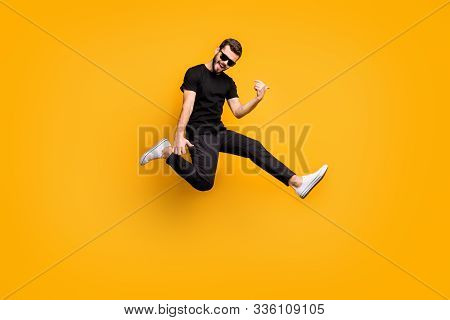Full Body Profile Photo Of Crazy Hipster Guy Jumping High Holding Imagine Solo Guitar Music Lover We