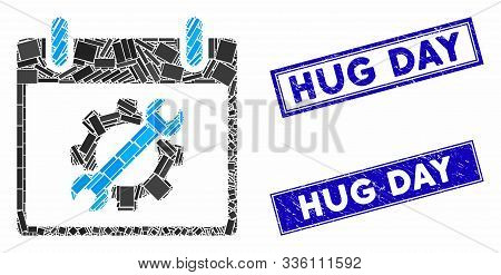 Mosaic Configuration Tools Calendar Day Icon And Rectangle Hug Day Stamps. Flat Vector Configuration