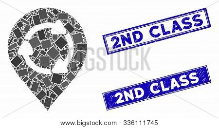 Mosaic Rotation Map Marker Icon And Rectangular 2nd Class Seal Stamps. Flat Vector Rotation Map Mark