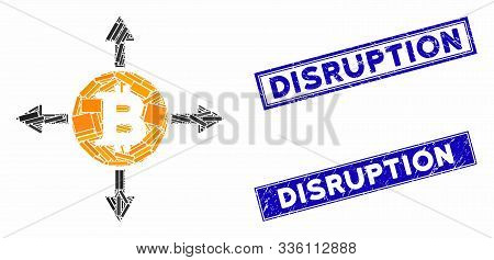 Mosaic Bitcoin Directions Icon And Rectangle Disruption Seals. Flat Vector Bitcoin Directions Mosaic