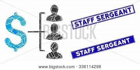 Mosaic Money Recipients Icon And Rectangle Staff Sergeant Watermarks. Flat Vector Money Recipients M