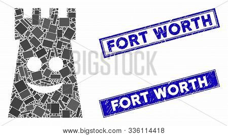 Mosaic Glad Fort Tower Icon And Rectangular Fort Worth Seal Stamps. Flat Vector Glad Fort Tower Mosa