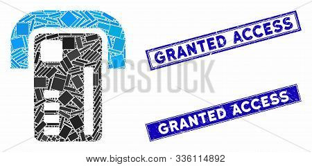 Mosaic Atm Machine Icon And Rectangular Granted Access Stamps. Flat Vector Atm Machine Mosaic Icon O