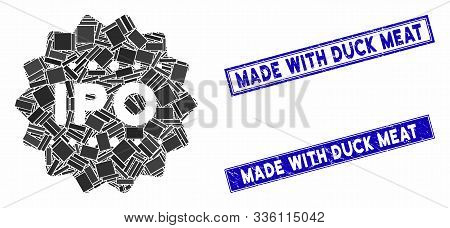 Mosaic Ipo Token Pictogram And Rectangle Made With Duck Meat Seal Stamps. Flat Vector Ipo Token Mosa
