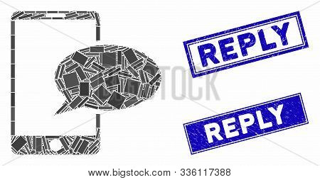 Mosaic Phone Message Pictogram And Rectangle Reply Seals. Flat Vector Phone Message Mosaic Icon Of S